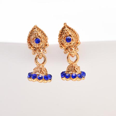 Blue Stone with Golden Polish Jhumki for Women