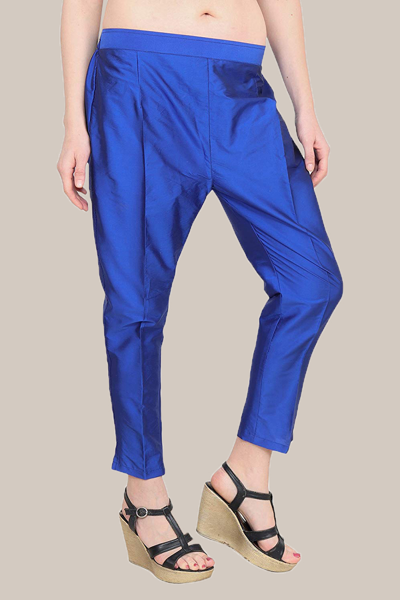 Blue Taffeta Silk Ankle Length Pant-33967