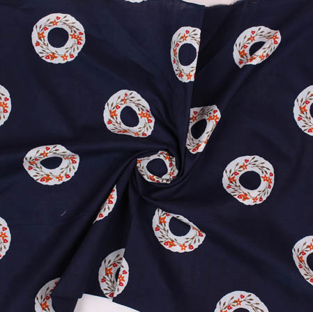 Blue White Block Print Cotton Fabric-14931