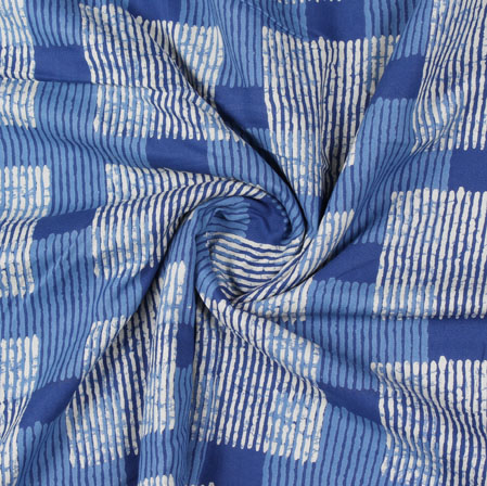 Blue White Block Print Cotton Fabric-16111