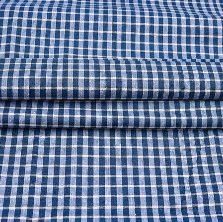 Blue White Checks Cotton Handloom Fabric-42223