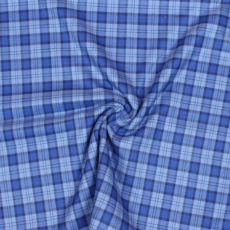 Blue White Checks Wool Fabric-90094