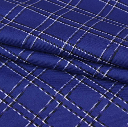 Blue White Checks Wool Fabric-90099
