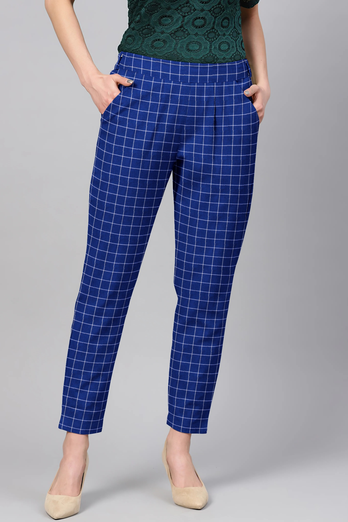 Blue White Cotton Check Regular Fit Solid Trouser-36059