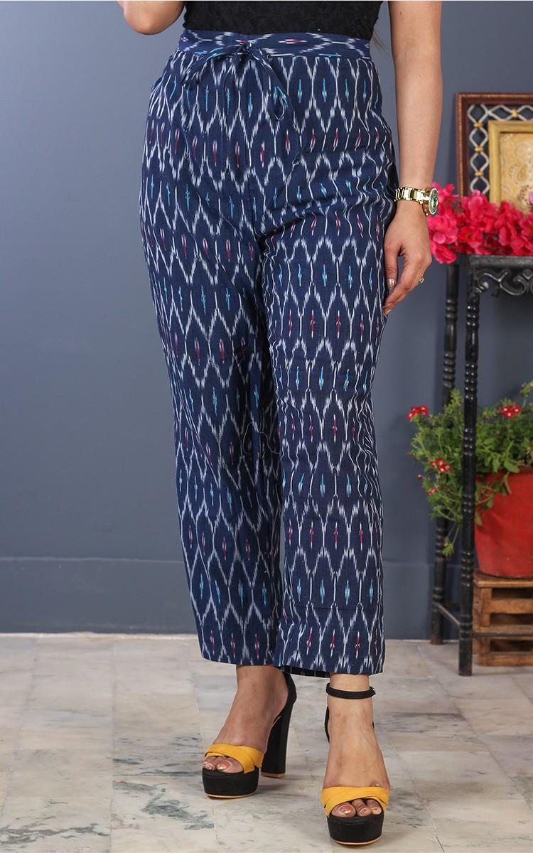 Blue White Cotton Ikat Ankle Women Pant-34698