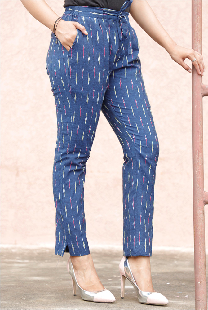 Blue White Cotton Ikat zig zag Narrow Pant-33879