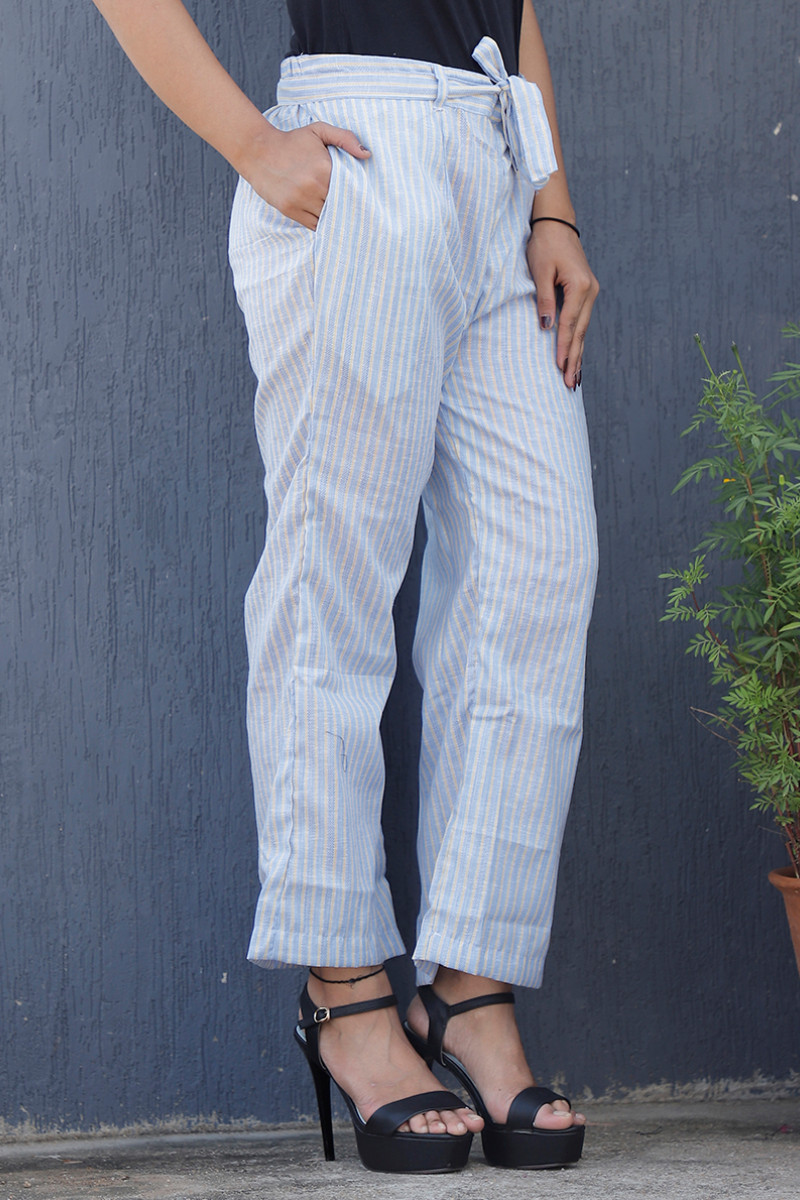 Blue White Cotton Stripe Pant with Belt-34072