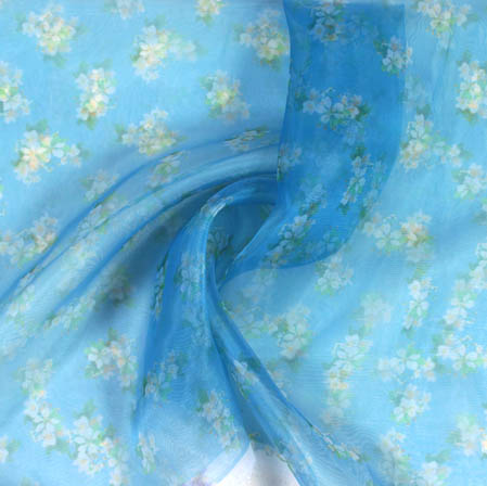 Blue White Digital Floral Organza Silk Fabric-51822