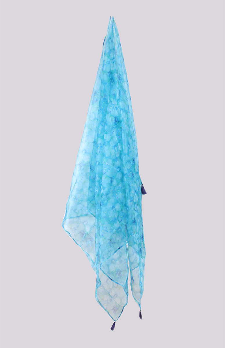 Blue White Digital Printed Organza Dupatta with Tassel-33465