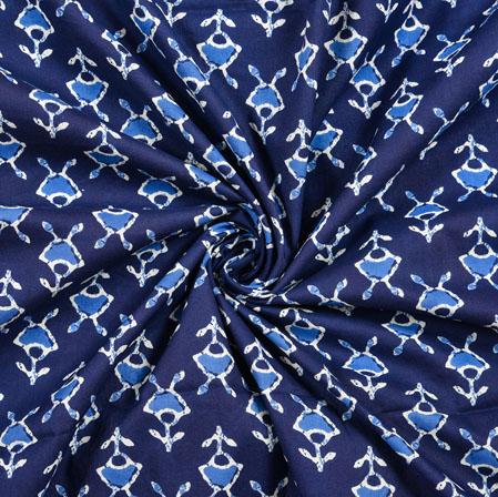 Blue White Floral Block Print Cotton Fabric-28414