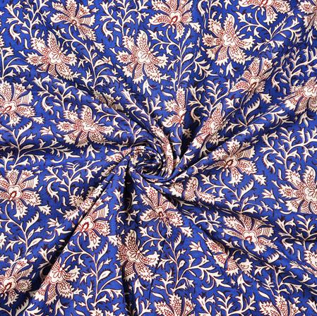 Blue White Floral Block Print Cotton Fabric-28426