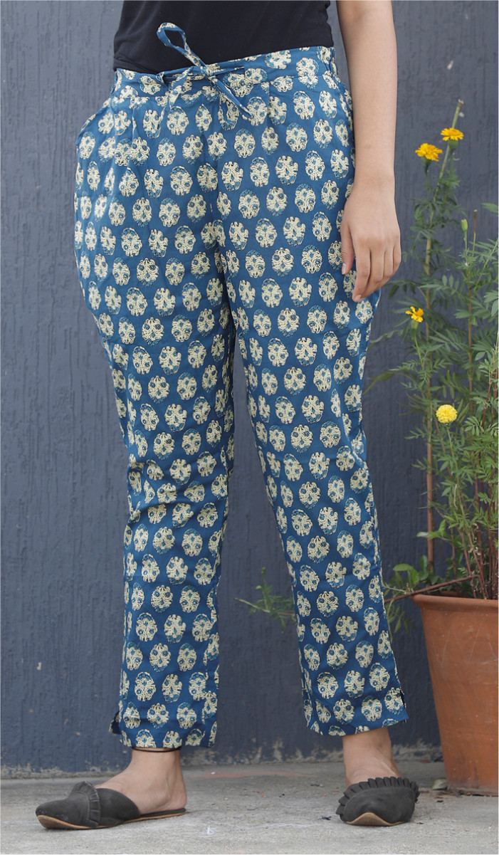 Blue White Floral Block Print Cotton Pant-34098
