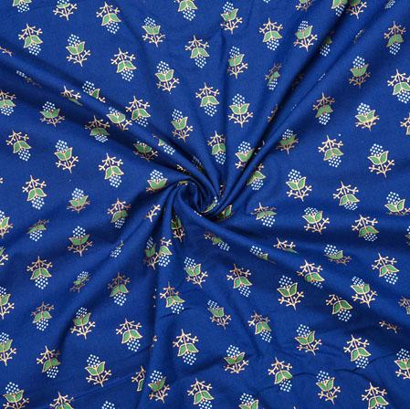 Blue White Floral Cotton Fabric-28091
