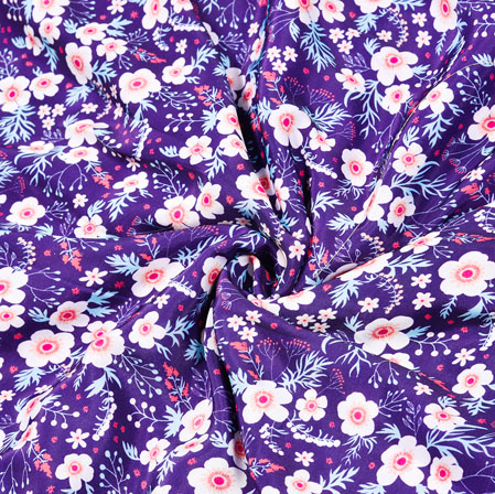 Blue White Floral Crepe Silk Fabric-41037