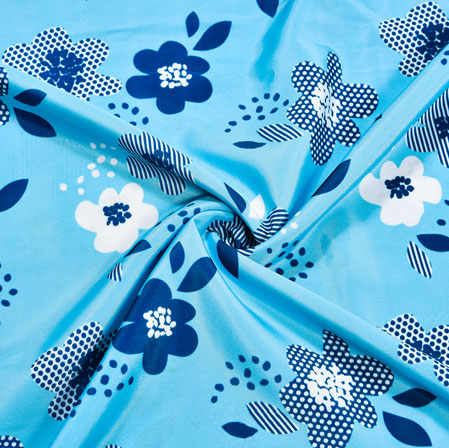 Blue White Floral Crepe Silk Fabric-41099