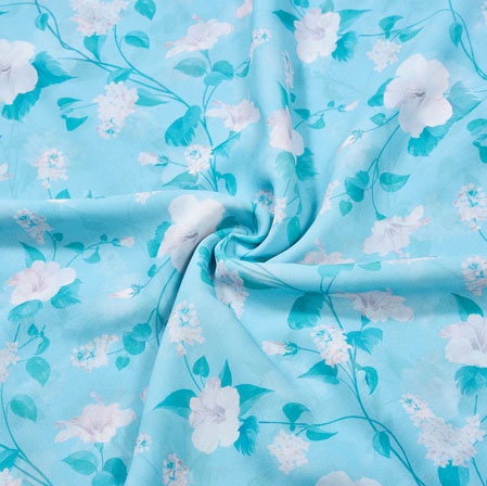 Blue White Floral Georgette Fabric-41111