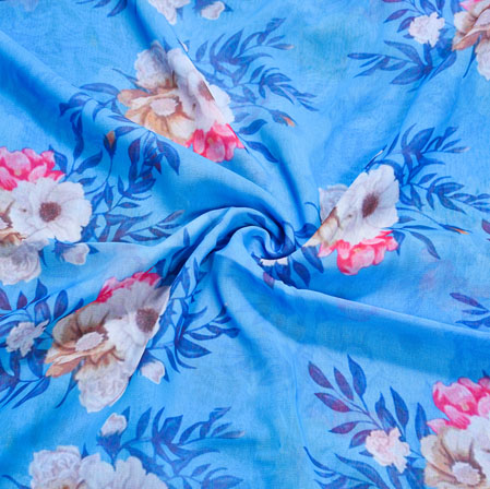 Blue White Floral Georgette Fabric-41127