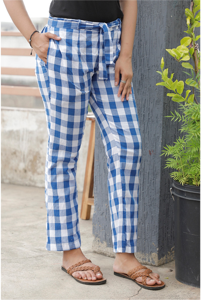 Blue White Handloom Cotton Checks Narrow Pant with Belt-33910