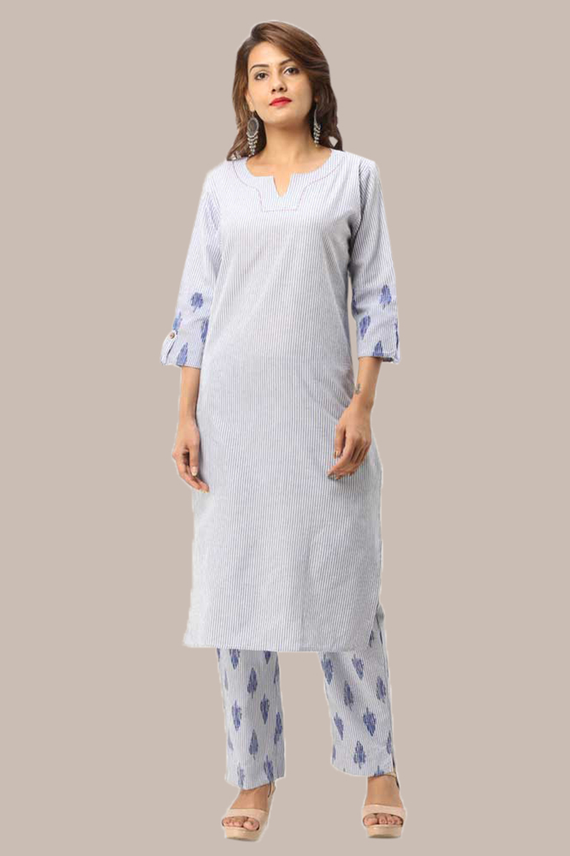Kurta Pant Set-Blue White Handloom Cotton Kurta Stripe Pant Set-33734