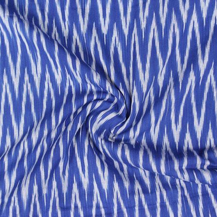 Blue White Ikat Cotton Fabric-11057