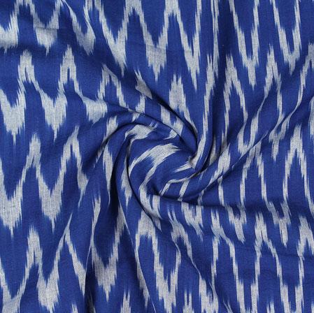 Blue White Ikat Cotton Fabric-11074