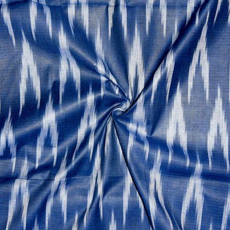 Blue White Ikat Cotton Fabric-11125
