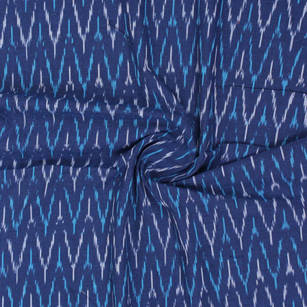 Blue White Ikat Cotton Fabric-12319