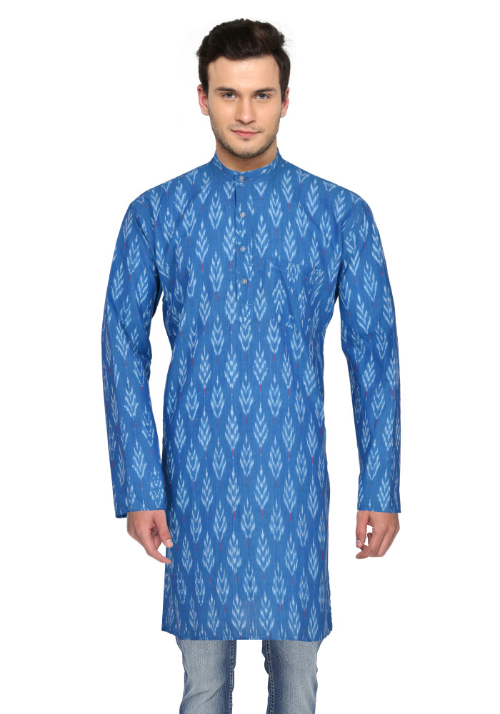Blue White Ikat Cotton Khadi Long Kurta-33180