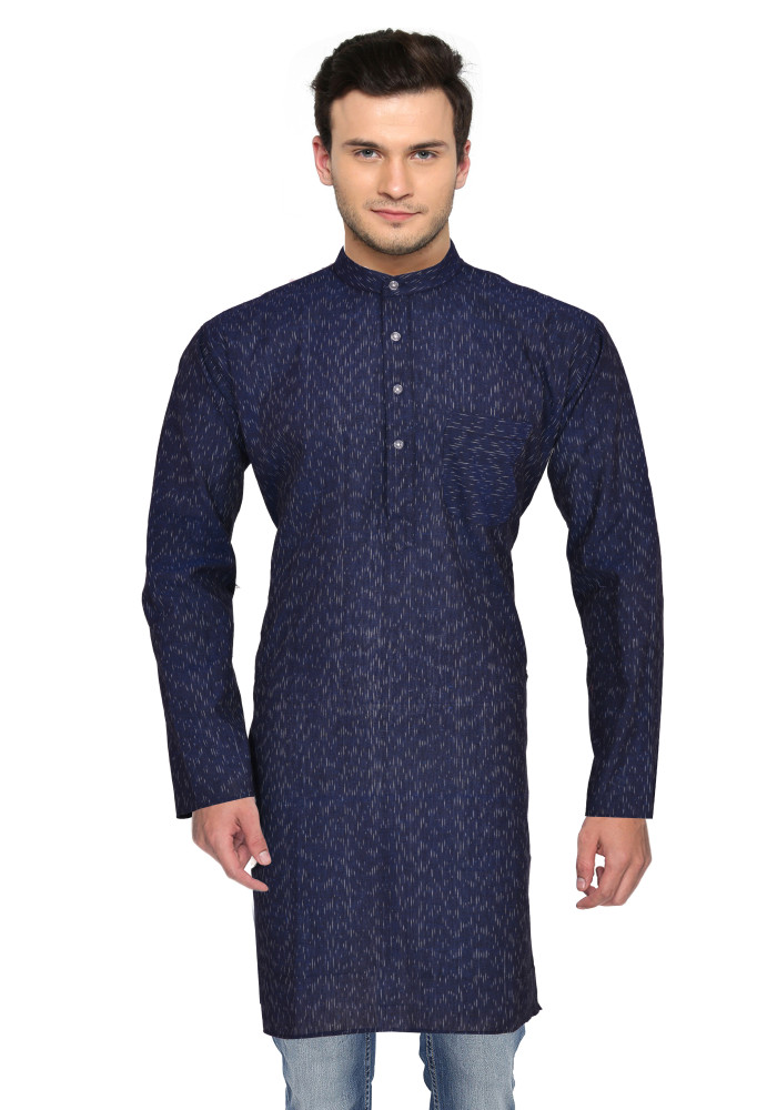 Blue White Ikat Cotton Khadi Long Kurta-33184