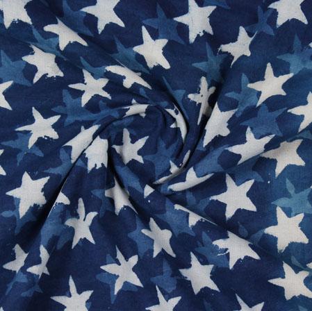 Blue White Indigo Block Print Cotton Fabric-16105