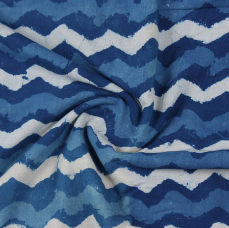 Blue White Indigo Block Print Cotton Fabric-16176