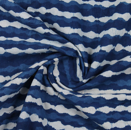 Blue White Indigo Block Print Cotton Fabric-16178