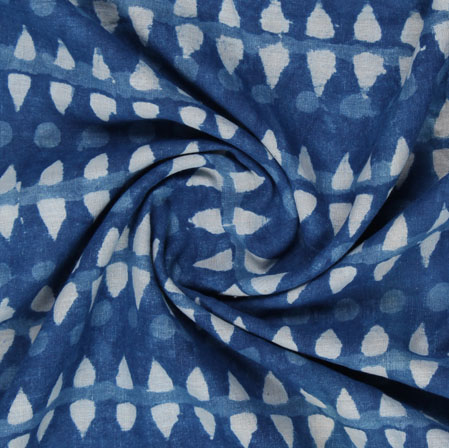 Blue White Indigo Block Print Cotton Fabric-16180