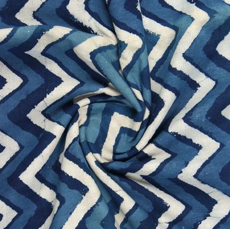 Blue White Indigo Block Print Cotton Fabric-16181