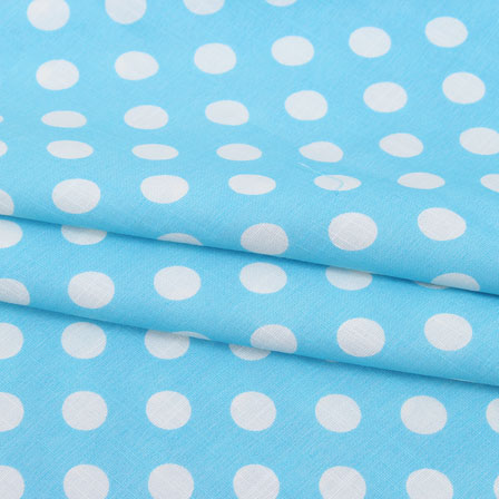 Blue White Polka Print Rayon Fabric-15279