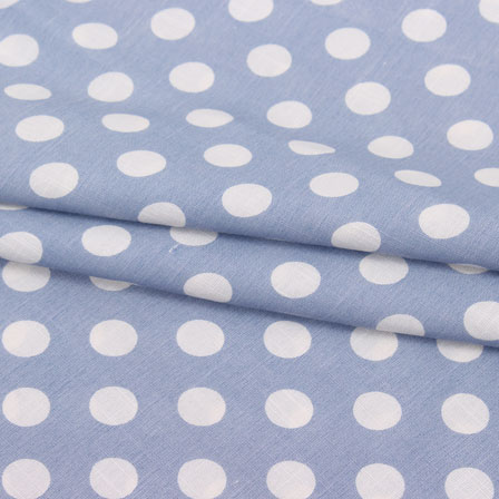 Blue White Polka Print Rayon Fabric-15283