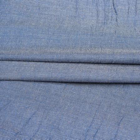 Blue White Self Handloom Cotton Fabric-42525