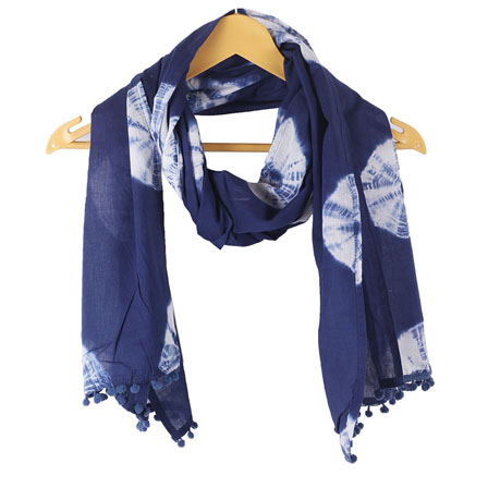 Blue White Shibori Cotton Block Print Dupatta With Pom Pom-33106