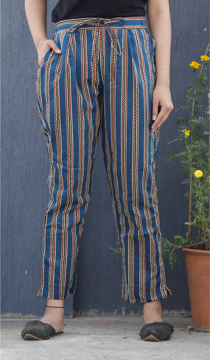 Blue White Stripe Block Print Cotton Pant-34103