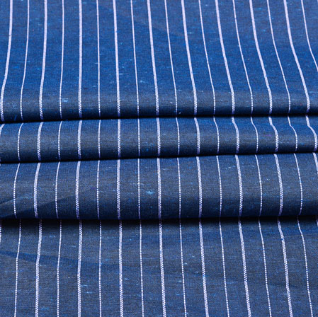 Blue White Stripe Cotton Fabric-42381