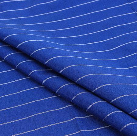 Blue White Stripe Handloom Cotton Fabric-40926