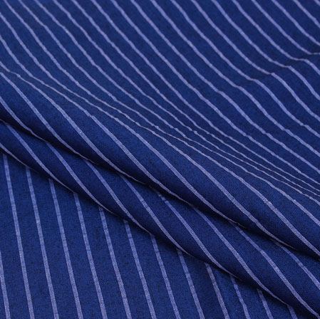 Blue White Stripe Handloom Cotton Fabric-40932