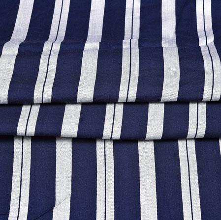 Blue White Stripe Handloom Cotton Fabric-42408