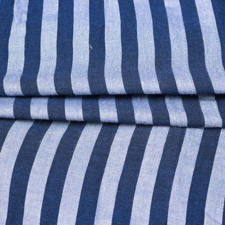 Blue White Stripe Handloom Cotton Fabric-42524