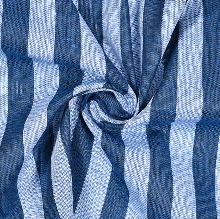 Blue White Striped Handloom Cotton Fabric-40796