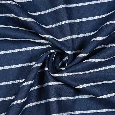 Blue White Striped Handloom Cotton Fabric-40841