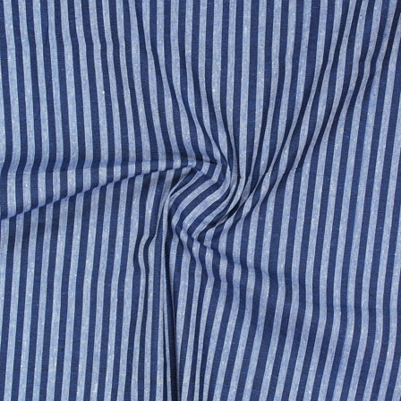 Blue White Striped Handloom Khadi Cotton Fabric-40708
