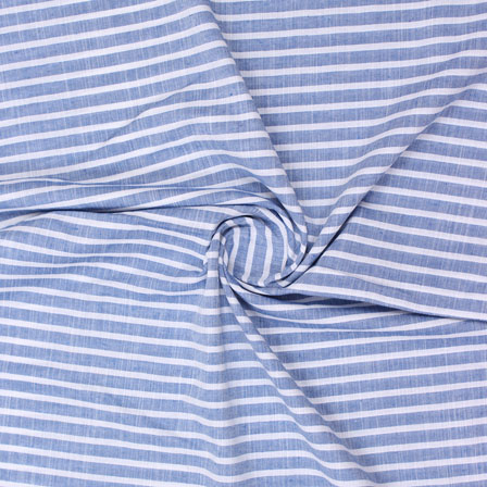 Blue White Striped Handloom Khadi Cotton Fabric-40751