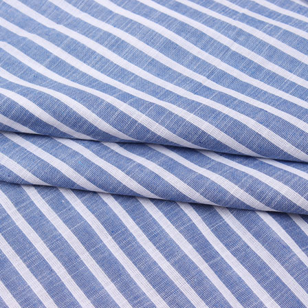 Blue White Striped Handloom Cotton Fabric-40751