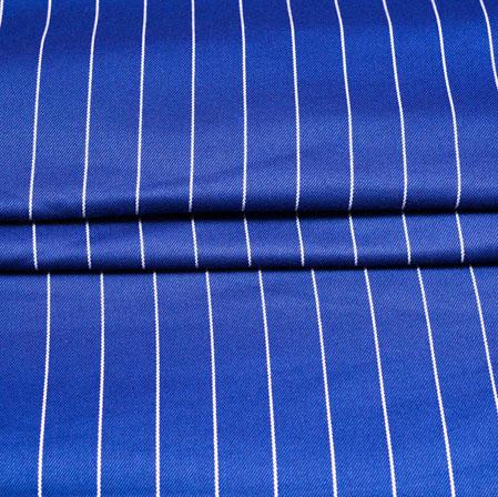 Blue White Stripe Wool Fabric-90179